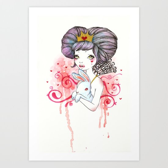 Princess with bunny Art Print