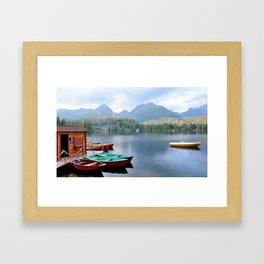Boats on lake Framed Art Print