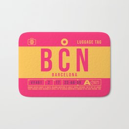 Baggage Tag B - BCN Barcelona El Prat Spain Bath Mat
