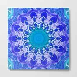 Azure Flower Mandala Metal Print