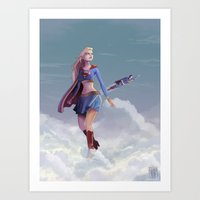 supergirl Art Prints featuring Supergirl by Edouard Relou