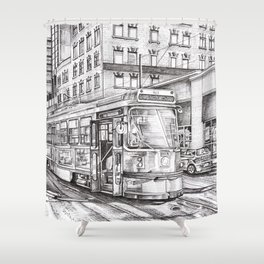 Spadina King (black and white) Shower Curtain