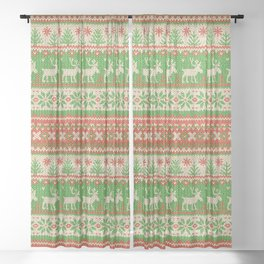 Ugly Christmas Sweater Digital Knit Pattern Sheer Curtain