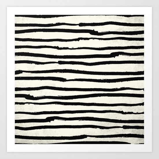 Tribal Stripes Black Earth on Ivory Cream Art Print