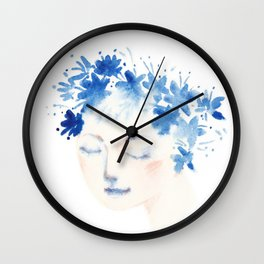 blue flowers girl Wall Clock