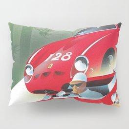 Vintage Italian Roadster Racing Targa Florio Sports Car Poster Pillow Sham