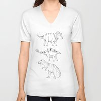 dinosaurs V-neck T-shirts featuring dinosaurs by Hannah Elizabeth