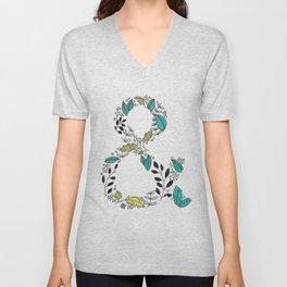 Botanical Ampersand Typographical Art Unisex V-Neck