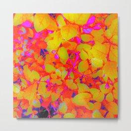 Vibrant Lemon Yellow Leaves Metal Print