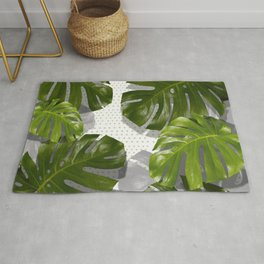 """""""Monstera plant on polka dots and white"""" Rug"""