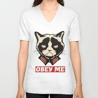 obey V-neck T-shirts featuring OBEY by frail