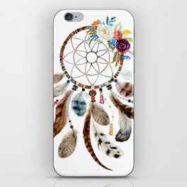 Flowers & tribal feathers dreamcatcher iPhone Skin