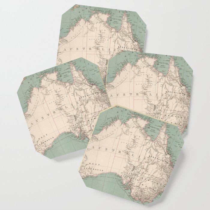 Vintage Topographic Map of Australia (1868) Coaster by bravuramedia