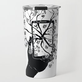 Break Free Cellphone Illustration - Hand holding cellphone growing a tree. Travel Mug