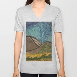 Zen Doodle Mountain Drawing Unisex V-Neck