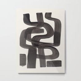 Black Ink Paint Brush Strokes Wiggles Mid Century Modern Metal Print