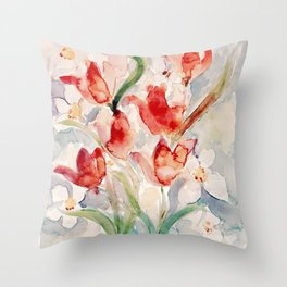 Tulips and Narcissi for Easter Throw Pillow