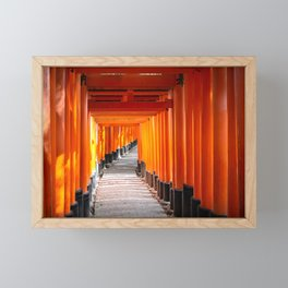 Torii gates of the Fushimi Inari Shrine in Kyoto, Japan Framed Mini Art Print