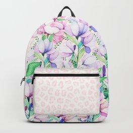 Pastel pink lavender watercolor floral animal print Backpack