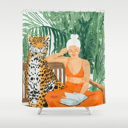 Jungle Vacay #painting #illustration Shower Curtain