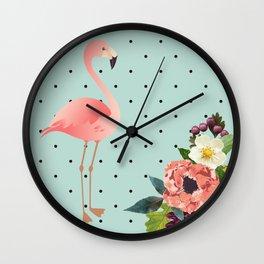 Flamingo de Outono Wall Clock