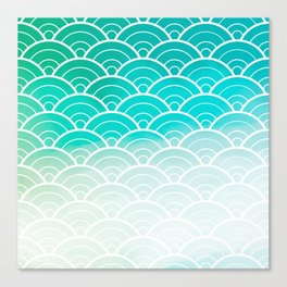 Turquoise Ombre Japanese Waves Pattern Canvas Print