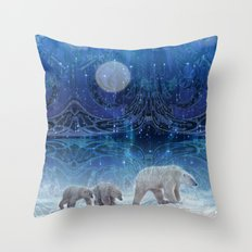 Arctic Journey of Polar Bears Throw Pillow