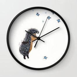 Hedgehog thinks of a happy wish Wall Clock