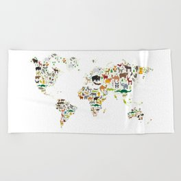 Cartoon animal world map for children and kids, Animals from all over the world on white background Beach Towel