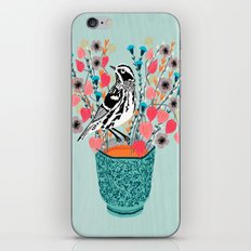 Tea and Flowers - Black and White Warbler by Andrea Lauren iPhone & iPod Skin