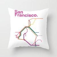 san francisco map Throw Pillows featuring San Francisco Transit Map by Ariel Wilson