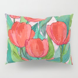 Blooming Red Tulips in Gouache Pillow Sham