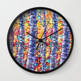 Autumn Aspen Trees Contemporary Painting with a Palette Knife Wall Clock