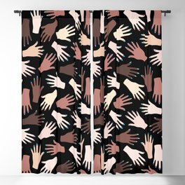 Nail Expert Studio - Colorful Manicured Hands Pattern on Black Background Blackout Curtain