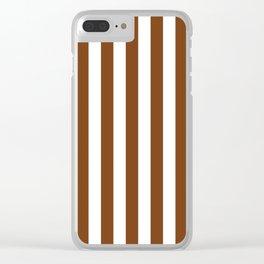 Dark Toffee Brown Beach Hut Vertical Stripe Fall Fashion Clear iPhone Case