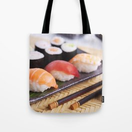 Shrimp tempura and various Japanese sushi on a plate Tote Bag