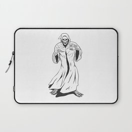 Grim reaper holding an hourglass -  black and white Laptop Sleeve