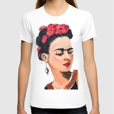 Frida LARGE White Womens Fitted Tee