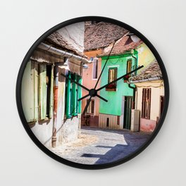 Multi Coloured Cottages Wall Clock