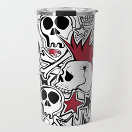 Seamles pattern. Crazy punk rock abstract background. Skulls,stars, rock symbols Travel Mug