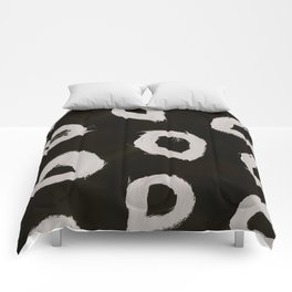 Round, Abstract, White & Black Comforters