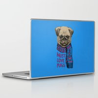 pugs Laptop & iPad Skins featuring Must Love Pugs by micklyn