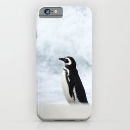 Magellanic Penguin on a stormy beach iPhone Case