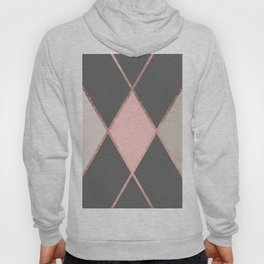 Modern pastel pink gray color block rose gold stripes Hoody