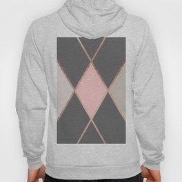 Modern pastel pink gray color block rose gold stripes Hoody