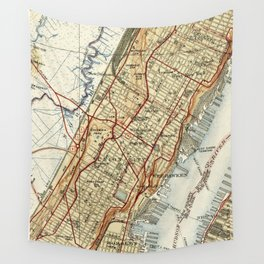 Weehawken, Union City & West New York Map (1935) Wall Tapestry