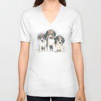 puppies V-neck T-shirts featuring Puppies 1 by JennFolds5 * Jennifer Delamar-Goss