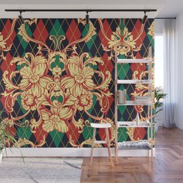 Eclectic vintage pattern. Argyle baroque ornament. Classical luxury damask hand drawn illustration pattern. Wall Mural
