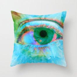 Eye in Bloom [Blue] Throw Pillow
