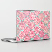 moroccan Laptop & iPad Skins featuring Moroccan Floral Lattice Arrangement in Pinks by micklyn